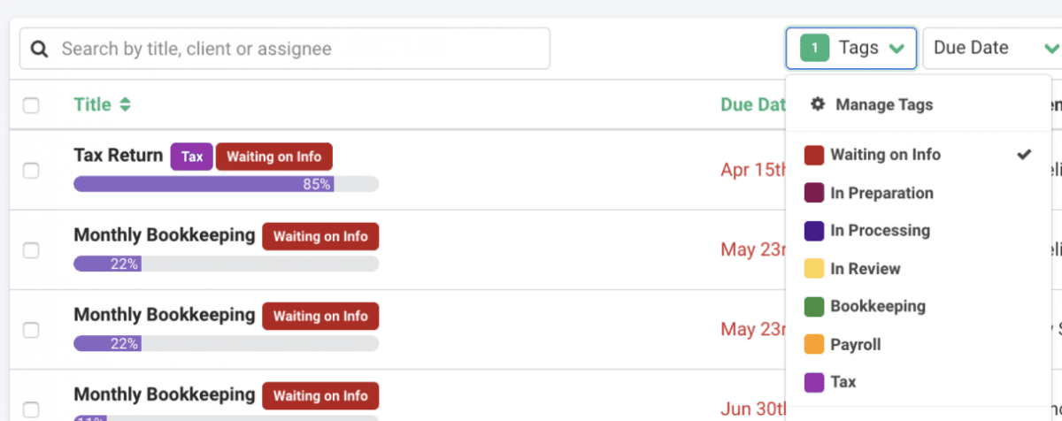 Organize your firm's workflow with project tags 1